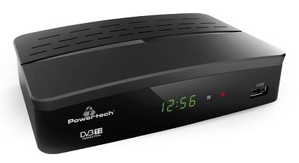 Ψηφιακός δέκτης POWERTECH PT-779, MPEG4, DVB-T2, H.265, RJ45